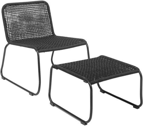 På billedet ser du variationen Mundo, Loungestol m. fodskammel til udendørsbrug fra brandet Bloomingville i en størrelse H: 77 cm. B: 73,2 cm. L: 58 cm. i farven Sort