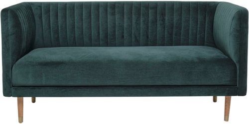 På billedet ser du variationen Nordic, 2-personers sofa, Egetræ, Rustfrit stål fra brandet Bloomingville i en størrelse H: 77 cm. B: 73 cm. L: 159 cm. i farven Grøn