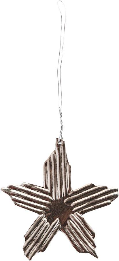 På billedet ser du variationen Ornament, Ray, Star fra brandet House Doctor i en størrelse Ø: 7,5 cm. i farven Sølv