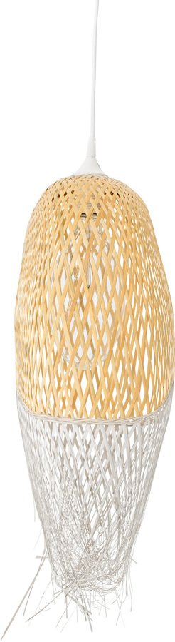 På billedet ser du variationen Cozy, Pendel, Aflang, Bambus fra brandet Bloomingville i en størrelse D: 20 cm. H: 75 cm. i farven Gul/Hvid
