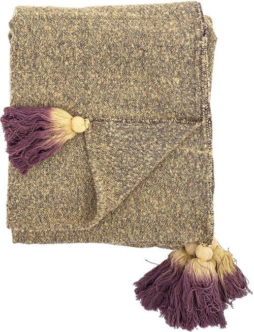 På billedet ser du variationen Cozy, Plaid, Bomuld fra brandet Bloomingville i en størrelse B: 130 cm. L: 170 cm. i farven Gul