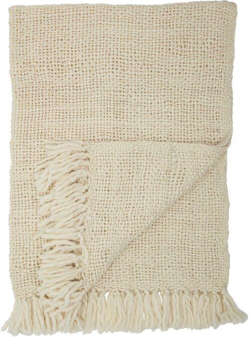 På billedet ser du variationen Ivory, Plaid, Uld, Akryl fra brandet Bloomingville i en størrelse B: 130 cm. L: 170 cm. i farven Hvid