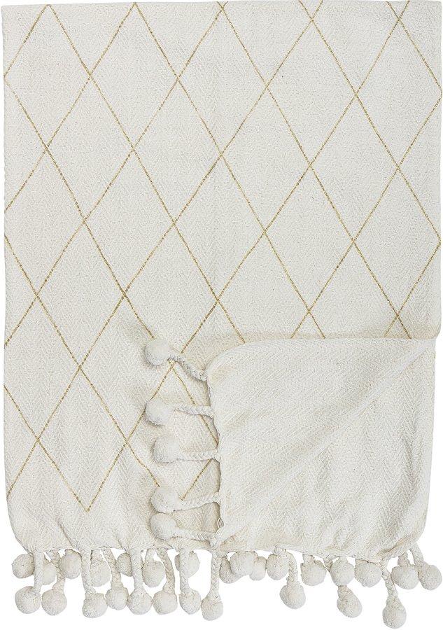 Cozy, Plaid, Ternet, Bomuld by Creative Collection (B: 125 cm. L: 150 cm., Hvid)