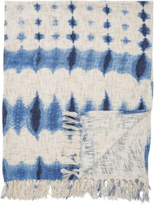 På billedet ser du variationen Nordic, Plaid, Bomuld fra brandet Bloomingville i en størrelse B: 130 cm. L: 160 cm. i farven Blå