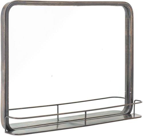 På billedet ser du variationen Cozy, Spejl med hylde, Jern, Glas fra brandet Creative Collection i en størrelse H: 47 cm. B: 9,5 cm. L: 62 cm. i farven Sort
