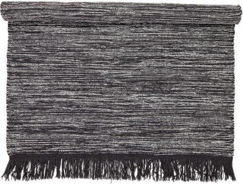 På billedet ser du variationen Nordic, Tæppe, Uld, Bomuld fra brandet Bloomingville i en størrelse B: 140 cm. L: 200 cm. i farven Grå/Sort