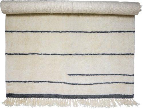 På billedet ser du variationen Nordic, Tæppe, Uld, Bomuld fra brandet Bloomingville i en størrelse B: 140 cm. L: 200 cm. i farven Natur
