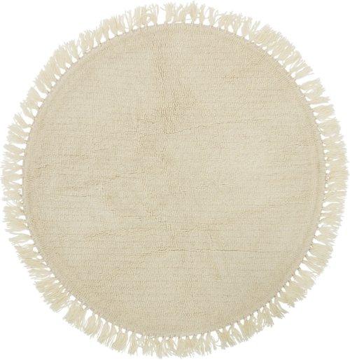 På billedet ser du variationen Tæppe, Uld, Rundt fra brandet Bloomingville i en størrelse D: 110 cm. i farven Natur