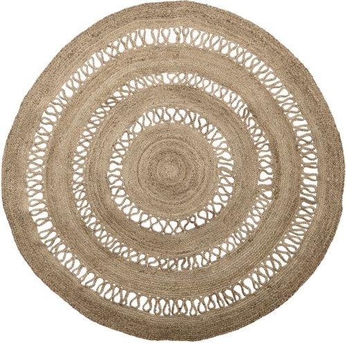 På billedet ser du variationen Cozy, Tæppe, Jute, Rundt fra brandet Bloomingville i en størrelse D: 182 cm. H: 1 cm. i farven Natur