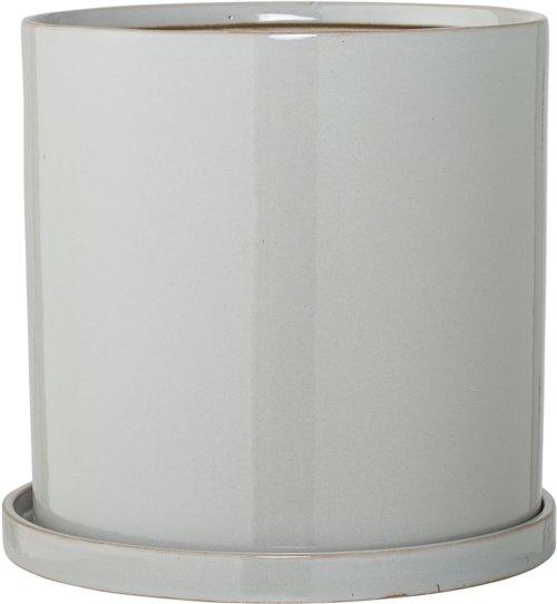 På billedet ser du variationen Cozy, Urtepotte m/Underskål, Stentøj keramik fra brandet Bloomingville i en størrelse D: 28 cm. H: 27 cm. i farven Grå