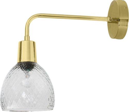 På billedet ser du variationen Cozy, Væglampe, Glas, Messing fra brandet Bloomingville i en størrelse D: 14 cm. H: 33 cm. B: 36 cm. i farven Klar