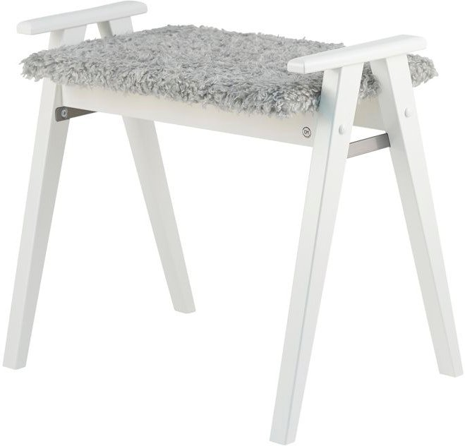 Billede af Alme, Skammel med fåreskind, Træ by Oscarssons Möbel (Imiteret fåreskind lysegrå, Hvidlakeret massiv birketræ)