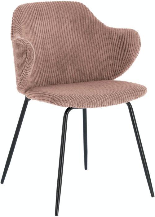 På billedet ser du variationen Suanne, Spisebordsstol m. armlæn, Fløjl fra brandet LaForma i en størrelse H: 79 cm. B: 54 cm. L: 55 cm. i farven Lyserød