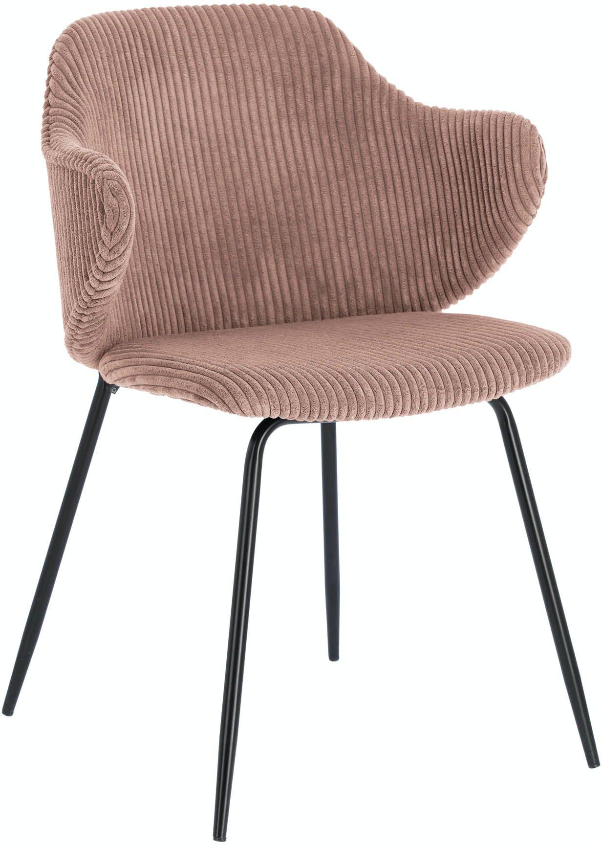 Suanne, Spisebordsstol m. armlæn, Fløjl by LaForma (H: 79 cm. B: 54 cm. L: 55 cm., Lyserød)