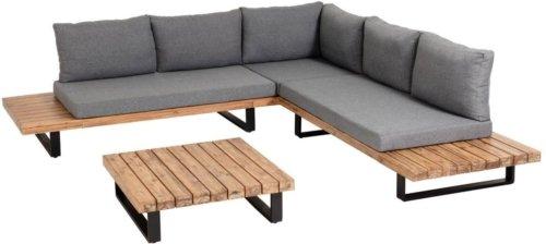 På billedet ser du variationen Zalika, Udendørs sofasæt fra brandet LaForma i en størrelse H: 78 cm. B: 255 cm. L: 255 cm. i farven Grå/natur