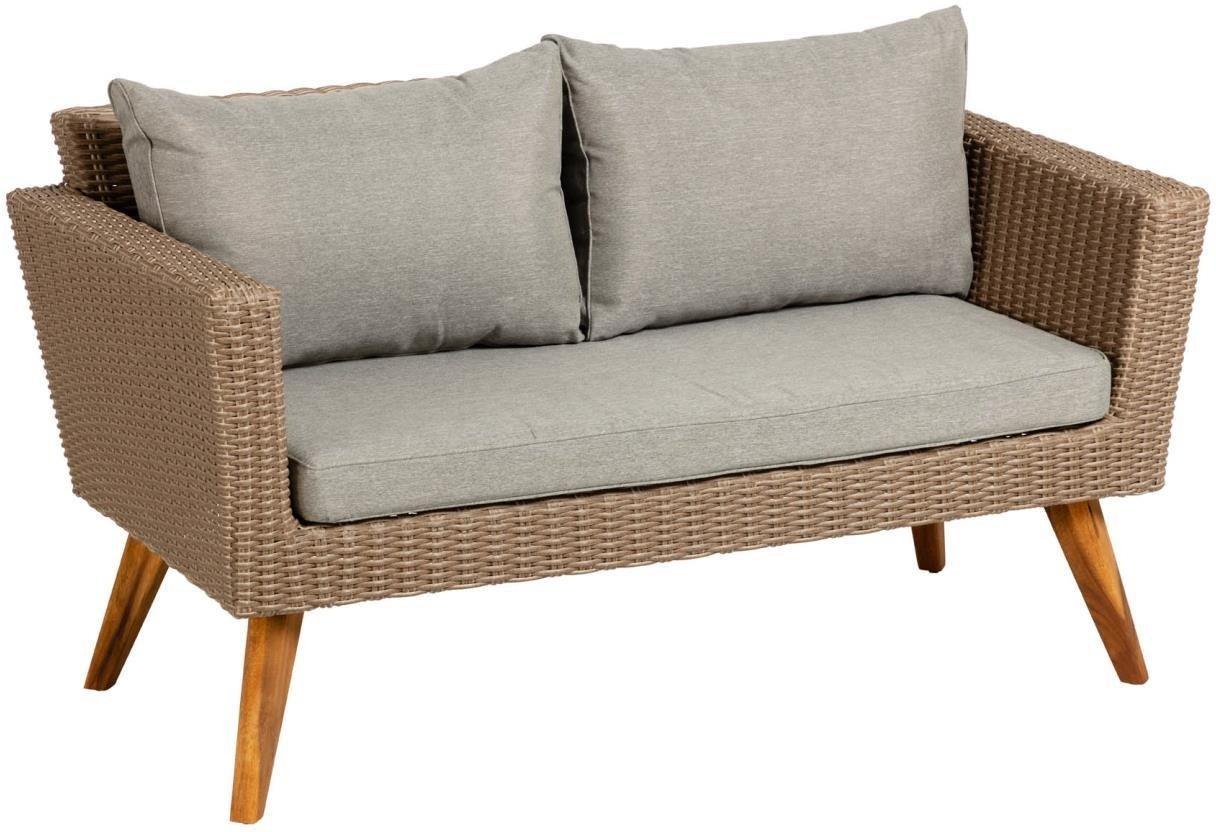 Sumie, Udendørs 2-personers sofa by LaForma (H: 72 cm. B: 134 cm. L: 68 cm., Natur/Grå)