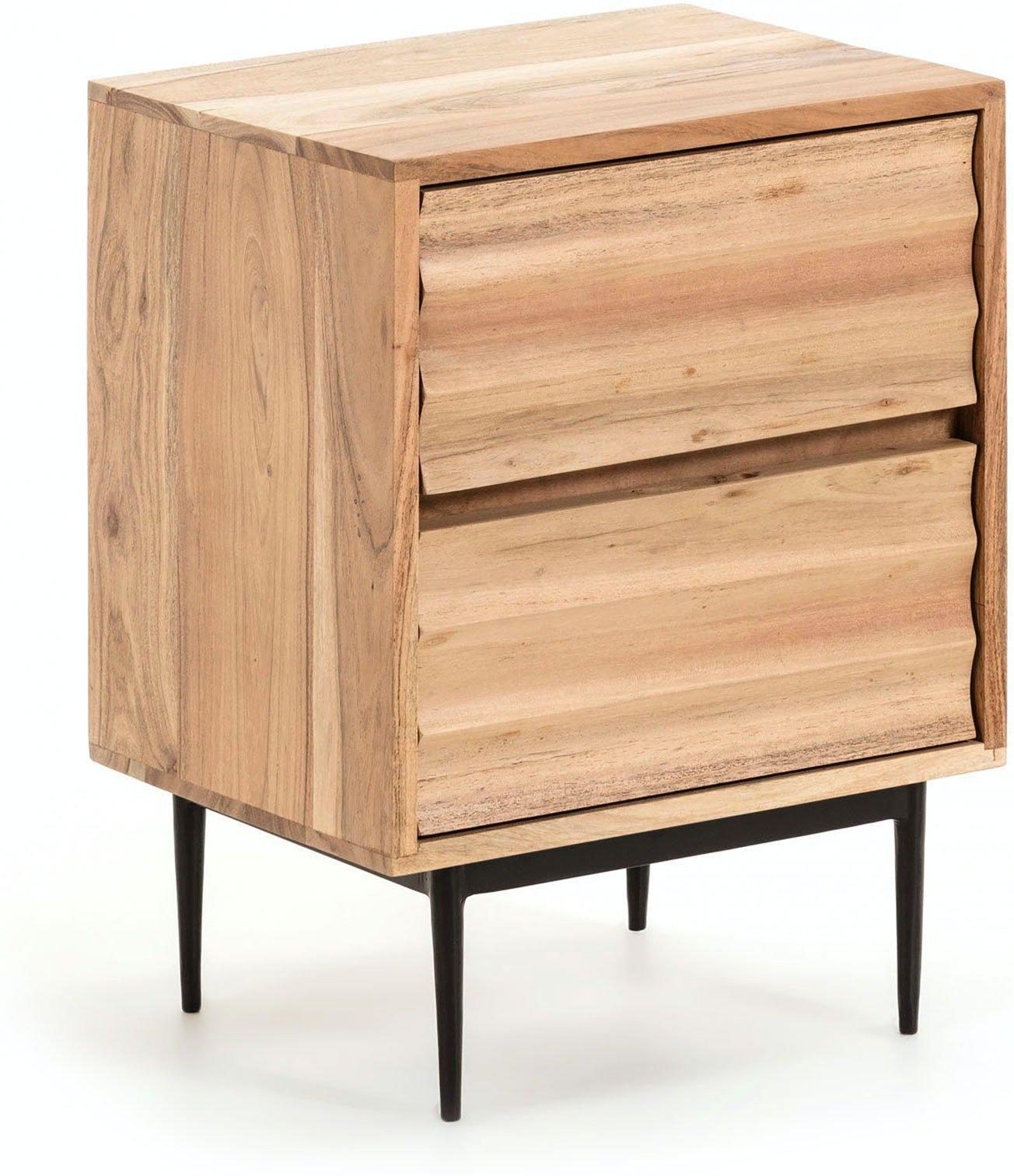 Delsie, Sengebord med 2 skuffer, Akacietræ by LaForma (H: 55 cm. B: 40 cm. L: 35 cm., Natur/Sort)