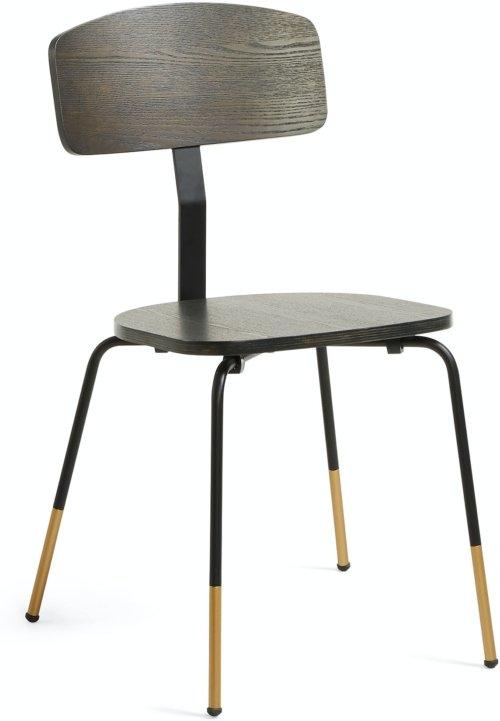 På billedet ser du variationen Milian, Spisebordsstol fra brandet LaForma i en størrelse H: 82 cm. B: 43 cm. L: 49 cm. i farven Sort/natur/guld