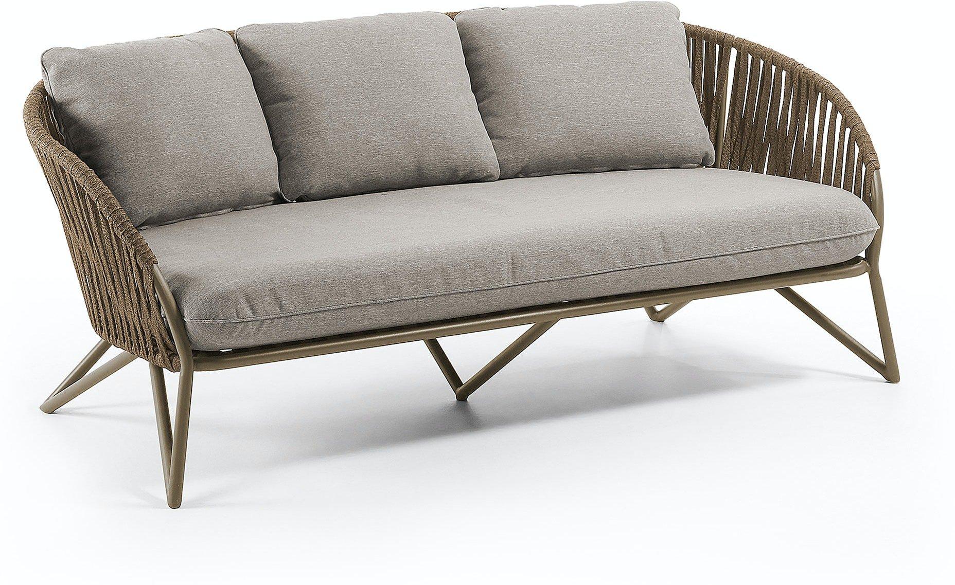 Branzie, Udendørs 3-personers sofa by LaForma (H: 77 cm. B: 180 cm. L: 90 cm., Brun/Grå)