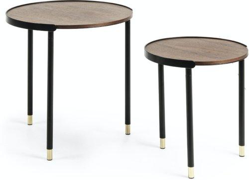 På billedet ser du variationen Anabel, Sidebord (sæt af 2 stk.) fra brandet LaForma i en størrelse H: 55 cm. B: 50 cm. L: 50 cm. i farven Natur/sort/guld