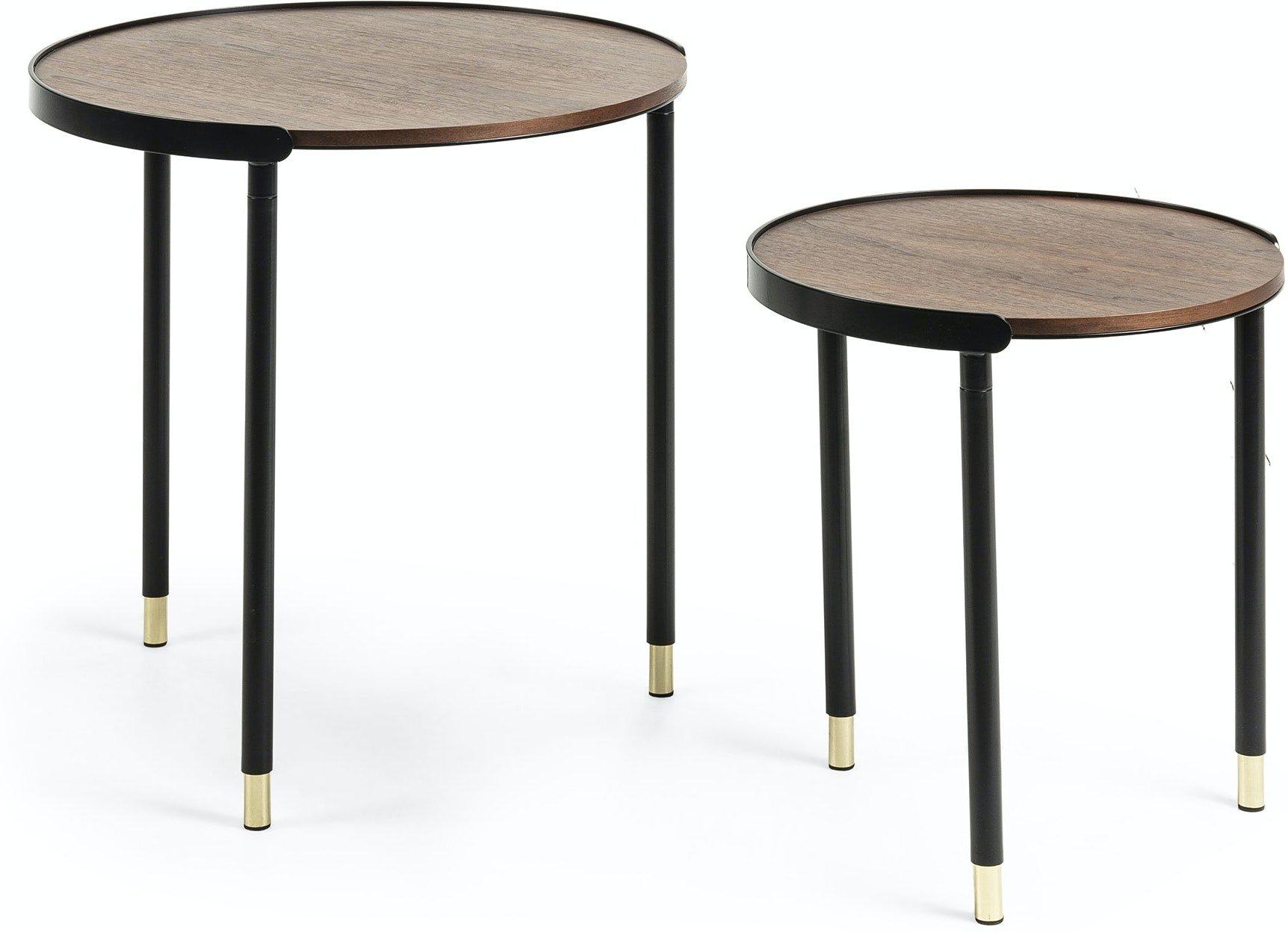 Anabel, Sidebord (sæt af 2 stk.) by LaForma (H: 55 cm. B: 50 cm. L: 50 cm., Natur/sort/guld)