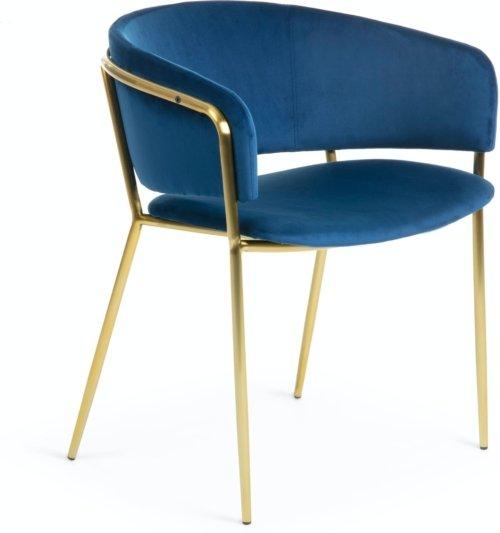 På billedet ser du variationen Runnie, Spisebordsstol m. armlæn, Velvet fra brandet LaForma i en størrelse H: 73 cm. B: 58 cm. L: 58 cm. i farven Blå/guld
