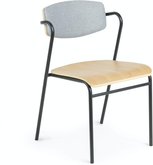 På billedet ser du variationen Zaha, Spisebordsstol fra brandet LaForma i en størrelse H: 78 cm. B: 48 cm. L: 49 cm. i farven Natur/sort/grå