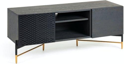 På billedet ser du variationen Milian, TV-bord fra brandet LaForma i en størrelse H: 56 cm. B: 141 cm. L: 45 cm. i farven Sort/natur/guld
