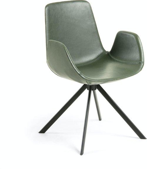På billedet ser du variationen Yolanda, Spisebordsstol m. armlæn fra brandet LaForma i en størrelse H: 84 cm. B: 55 cm. L: 54 cm. i farven Grøn/sort