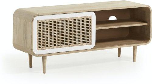 På billedet ser du variationen Georg, TV-bord, Mangotræ fra brandet LaForma i en størrelse H: 50 cm. B: 120 cm. L: 40 cm. i farven Natur/hvid