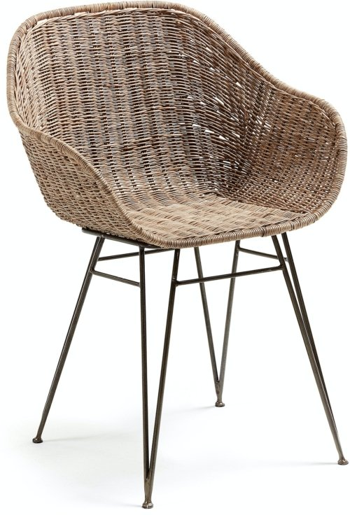 På billedet ser du variationen Chart, Spisebordsstol m. armlæn fra brandet LaForma i en størrelse H: 80 cm. B: 60 cm. L: 52 cm. i farven Natur/sort