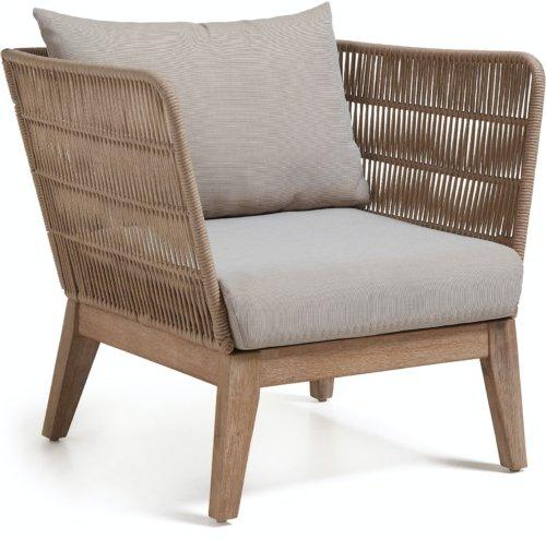 På billedet ser du variationen Belleny, Udendørs lænestol fra brandet LaForma i en størrelse H: 70 cm. B: 86 cm. L: 80 cm. i farven Beige/natur/grå