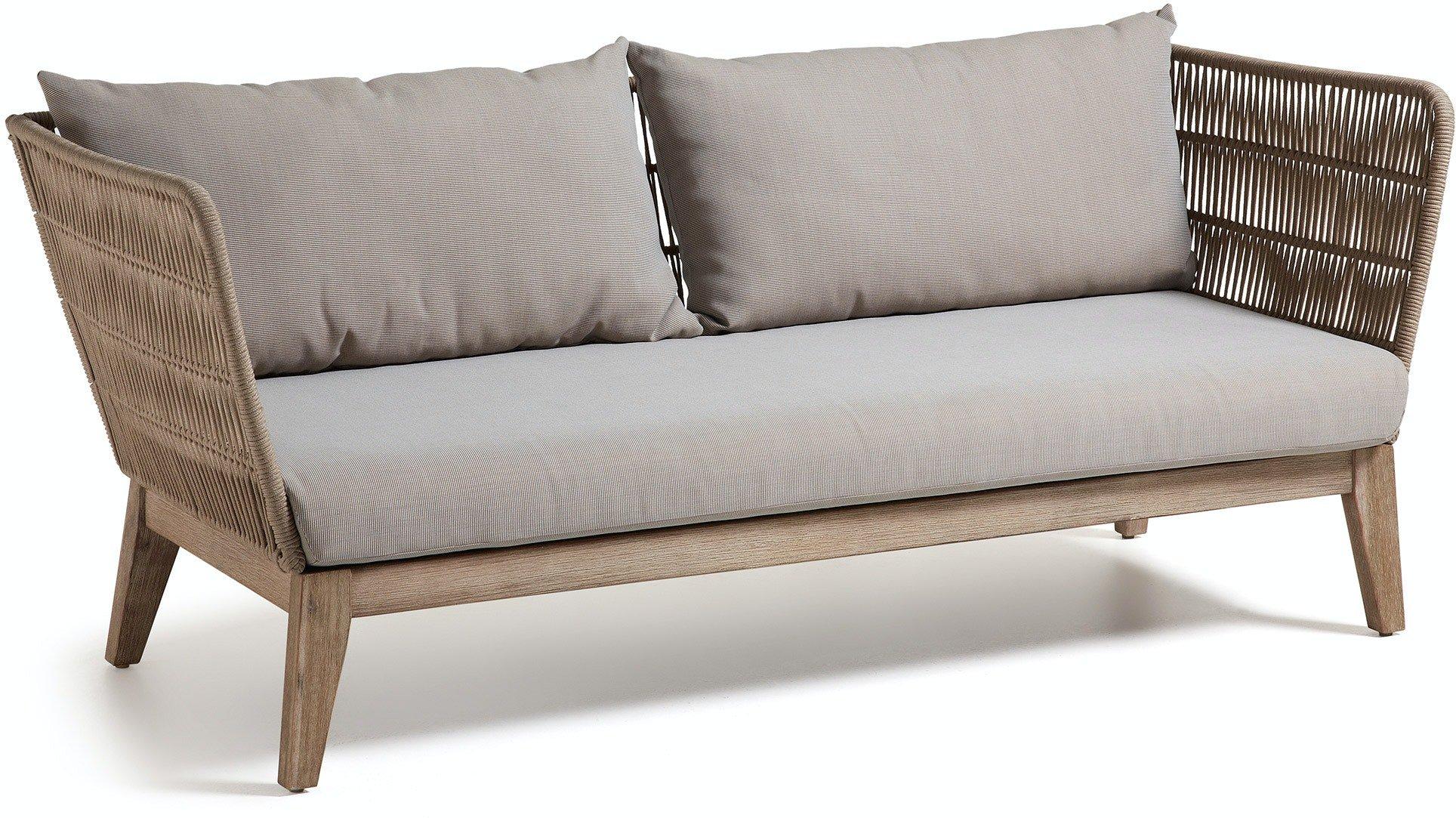 Belleny, Udendørs 3-personers sofa by LaForma (H: 70 cm. B: 176 cm. L: 80 cm., Beige/natur/grå)