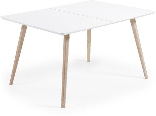 På billedet ser du variationen Eunice, Udtrækkeligt spisebord fra brandet LaForma i en størrelse H: 75 cm. B: 140 cm. L: 90 cm. i farven Hvid/natur