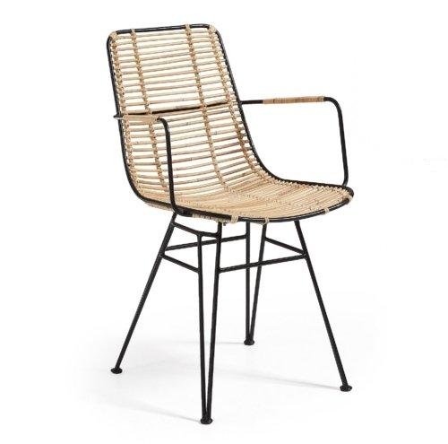 På billedet ser du variationen Tishana, Spisebordsstol m. armlæn fra brandet LaForma i en størrelse H: 79 cm. B: 51 cm. L: 58 cm. i farven Natur/sort