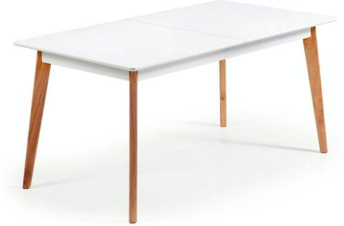 På billedet ser du variationen Melan, Udtrækkeligt spisebord fra brandet LaForma i en størrelse H: 77 cm. B: 160 cm. L: 90 cm. i farven Hvid/natur