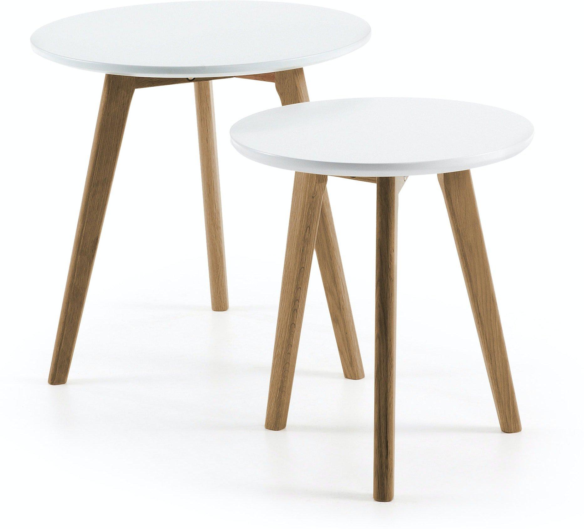 Kirb, Sidebord (sæt af 2 stk.) by LaForma (H: 45 cm. B: 50 cm. L: 50 cm., Hvid/Natur)