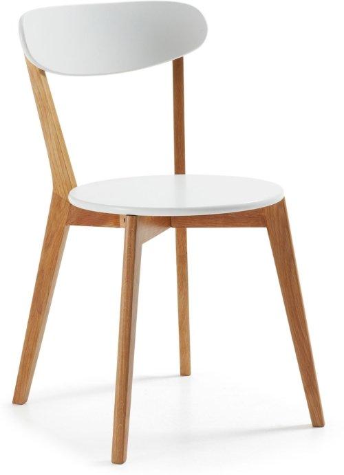 På billedet ser du variationen Areia, Spisebordsstol fra brandet LaForma i en størrelse H: 80 cm. B: 49 cm. L: 55 cm. i farven Hvid/natur