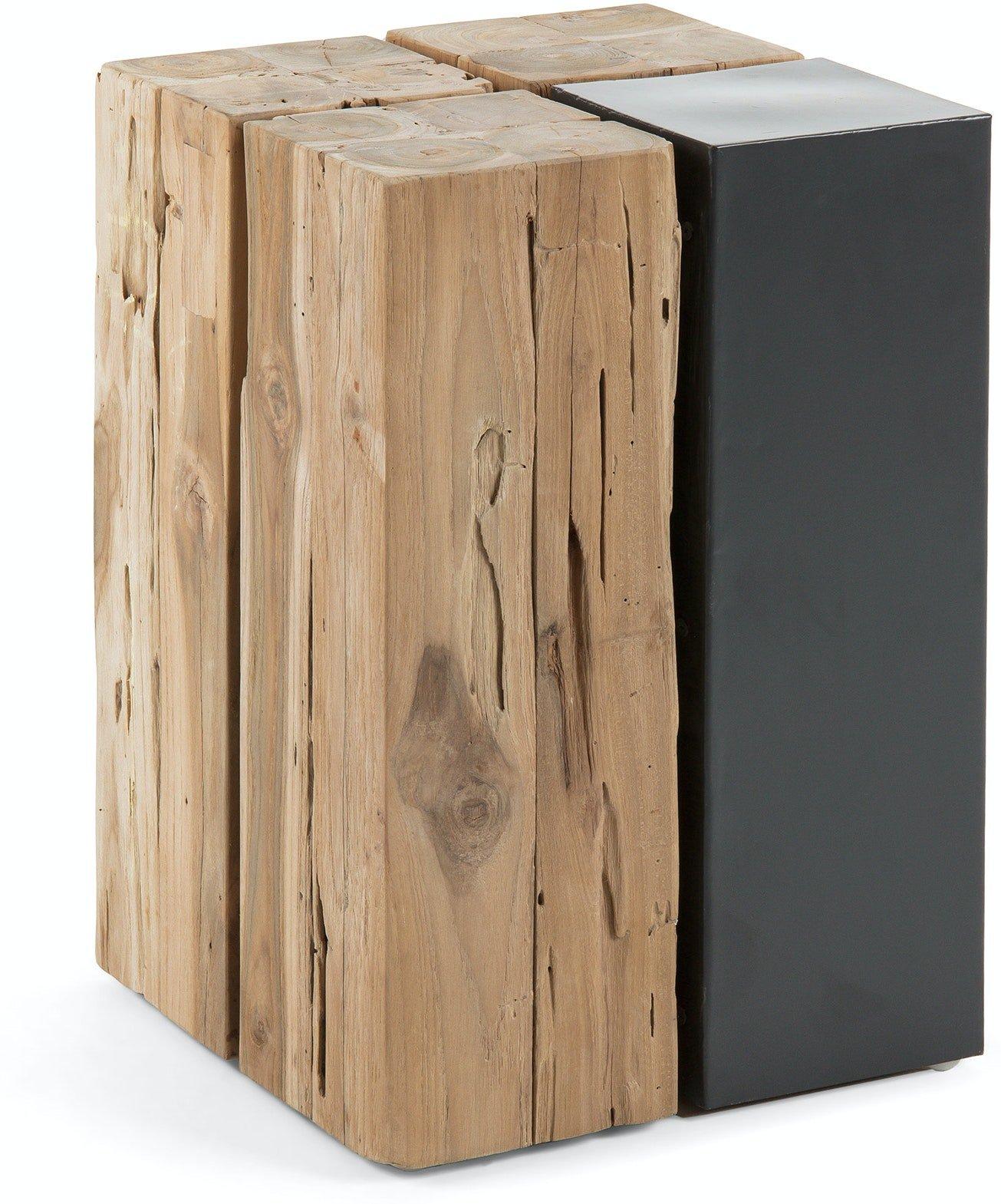 Kwango, Sidebord, Teaktræ by LaForma (H: 42.5 cm. B: 29 cm. L: 29 cm., Natur/Sort)