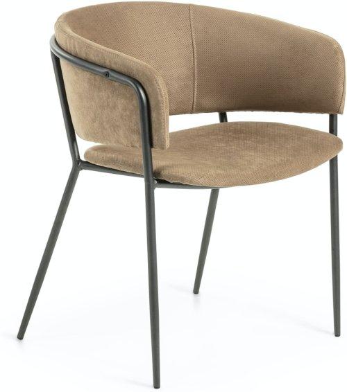 På billedet ser du variationen Runnie, Spisebordsstol m. armlæn fra brandet LaForma i en størrelse H: 73 cm. B: 58 cm. L: 58 cm. i farven Brun/sort