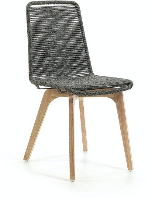 På billedet ser du variationen Narava, Udendørs spisestol fra brandet LaForma i en størrelse H: 90 cm. B: 45 cm. L: 58 cm. i farven Grå/natur