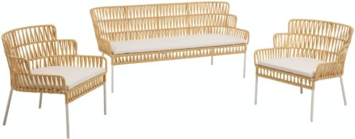 På billedet ser du variationen Robyn, Udendørs sofasæt fra brandet LaForma i en størrelse H: 75 cm. B: 160 cm. L: 70 cm. i farven Sennep/hvid