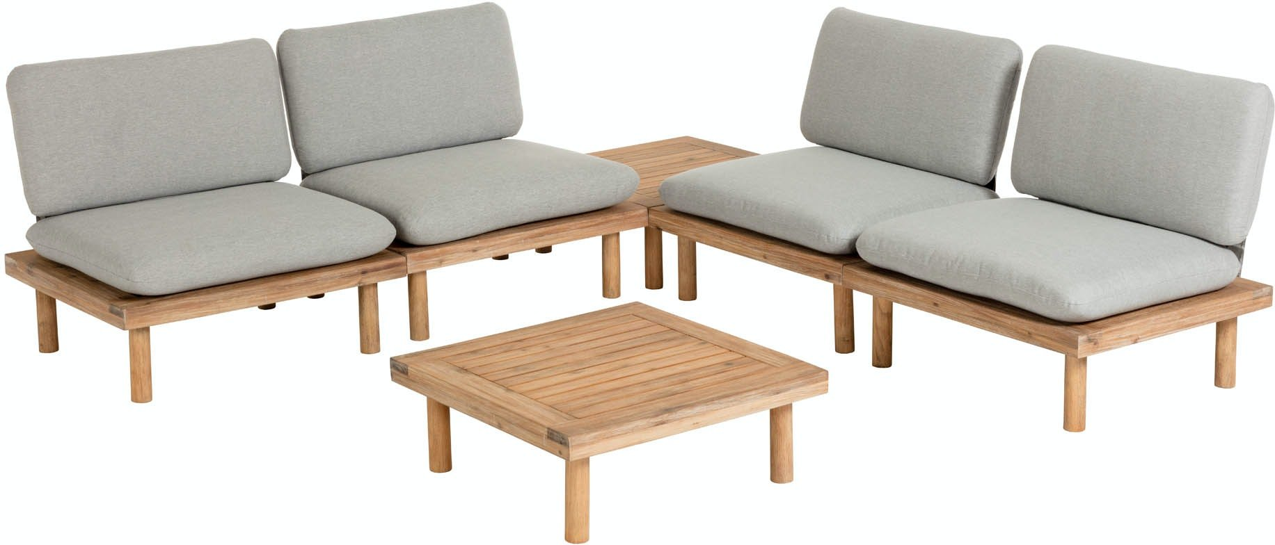 Køb Viridis, Udendørs loungesæt by LaForma (4 prs. + sofabord + sidebord, Grå/Natur)