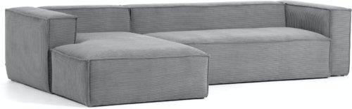 På billedet ser du variationen Blok, Sofa med chaiselong, Venstrevendt, Fløjl fra brandet LaForma i en størrelse H: 69 cm. B: 330 cm. L: 174 cm. i farven Grå