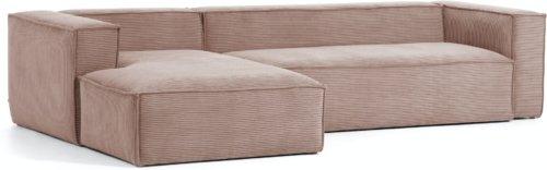 På billedet ser du variationen Blok, Sofa med chaiselong, Venstrevendt, Fløjl fra brandet LaForma i en størrelse H: 69 cm. B: 330 cm. L: 174 cm. i farven Lyserød