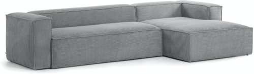 På billedet ser du variationen Blok, Sofa med chaiselong, Højrevendt, Fløjl fra brandet LaForma i en størrelse H: 69 cm. B: 330 cm. L: 174 cm. i farven Grå