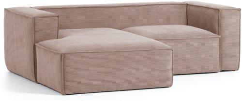 På billedet ser du variationen Blok, Sofa med chaiselong, Venstrevendt, Fløjl fra brandet LaForma i en størrelse H: 69 cm. B: 240 cm. L: 174 cm. i farven Lyserød