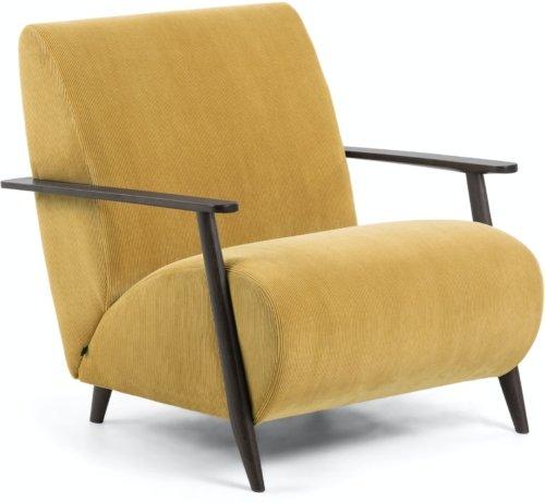 På billedet ser du variationen Meghan, Lænestol, Fløjl fra brandet LaForma i en størrelse H: 78 cm. B: 77 cm. L: 83 cm. i farven Sennep/brun