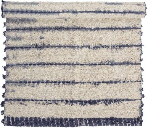 På billedet ser du variationen Axel, Tæppe, Blå, Bomuld fra brandet Bloomingville i en størrelse B: 70 cm. L: 120 cm. i farven Blå