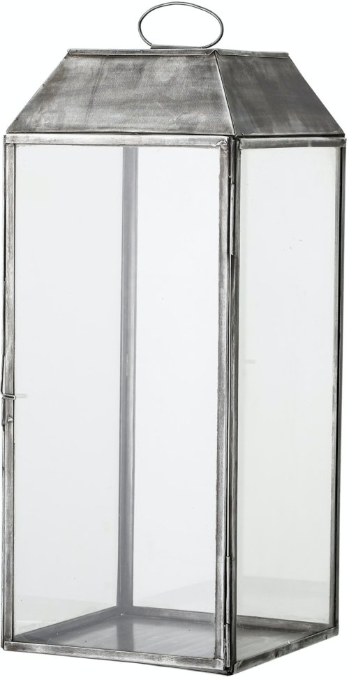 På billedet ser du variationen Ejlar, Lanterne, Grå, Metal fra brandet Bloomingville i en størrelse H: 48 cm. B: 20 cm. L: 20 cm. i farven Grå